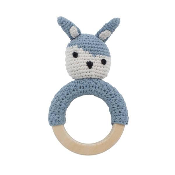 Bilde av Sebra heklet kanin rangle til baby, powder blue