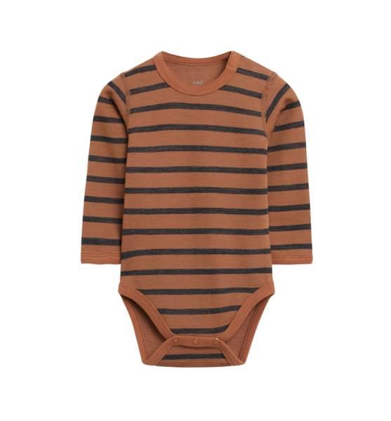 Bilde av Hust & Claire ull/bambus body med striper, Cognac