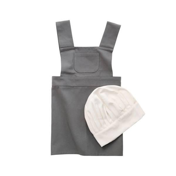 Bilde av Sebra forkle og kokkehatt, grå og hvit