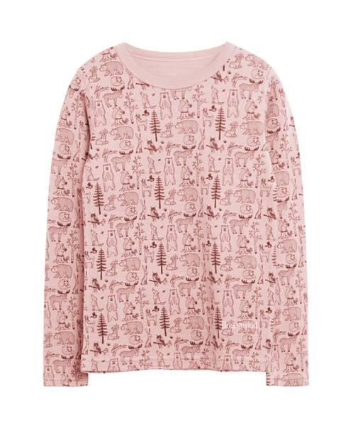 Bilde av Hust & Claire genser i ull med skogsprint, rosa