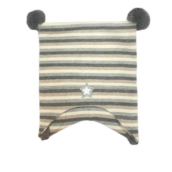 Bilde av Kivat vårlue med striper, beige og grå
