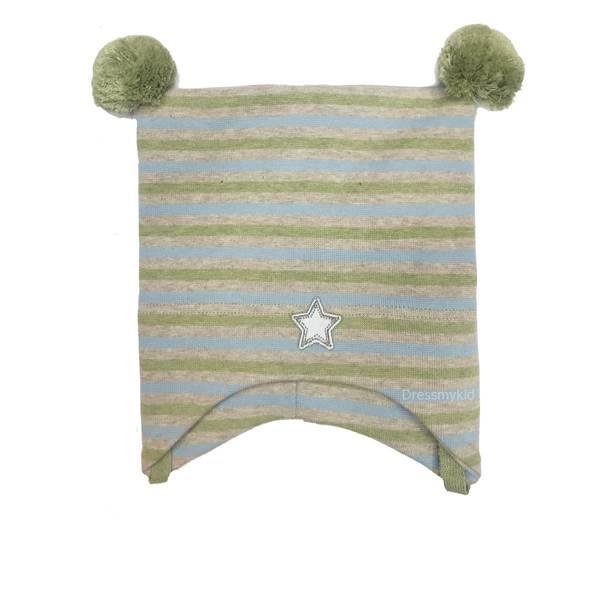 Bilde av Kivat vårlue med striper, beige, grønn og gråblå