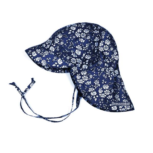 Bilde av Huttelihut solhatt med slep og blomsterprint, blå