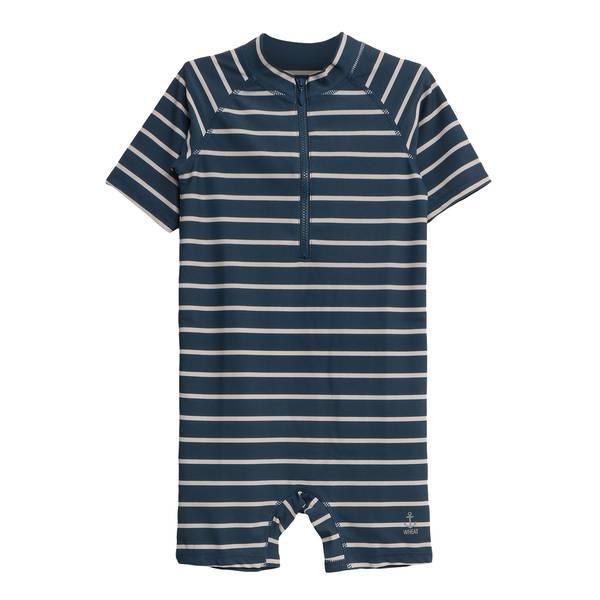 Bilde av Wheat UV drakt til barn, stripete indigo