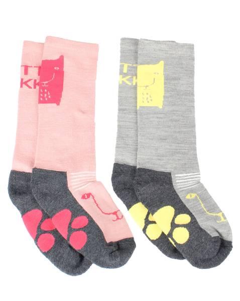 Bilde av Kattnakken 2 pack lange ullsokker til barn, rosa