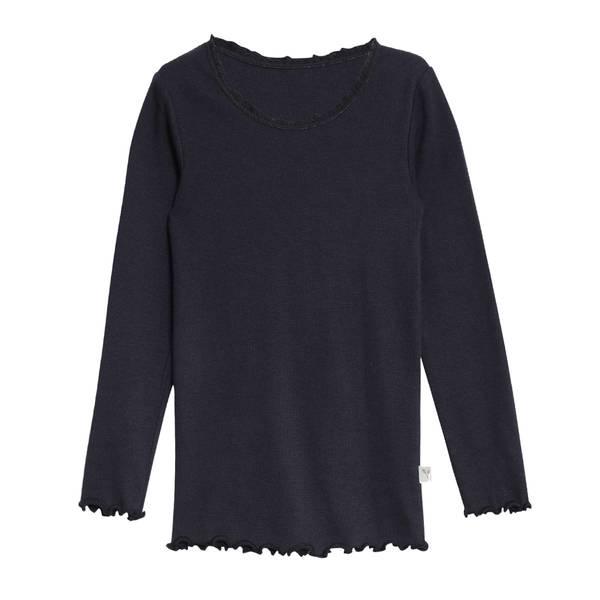 Bilde av Wheat ribb lace genser til barn, midnight blue