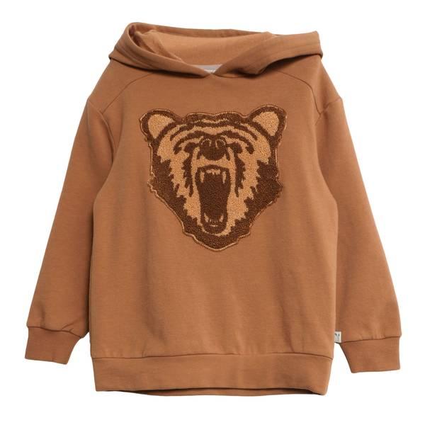 Bilde av Wheat Terry hettegenser med en bjørn, caramel