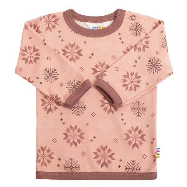 Bilde av Joha snow flocks ull/bomull genser til barn, rosa