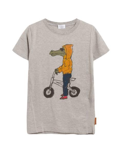 Bilde av Hust & Claire t-skjorte med en krokodille, grå