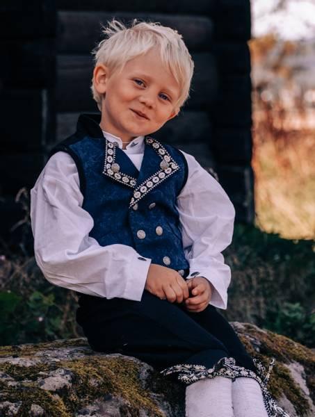Bilde av Salto bunad / Festdrakt til baby gutt, blå