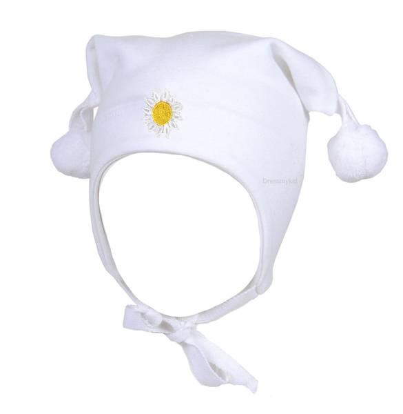 Bilde av Kivat vårlue til baby og  barn med blomst, hvit