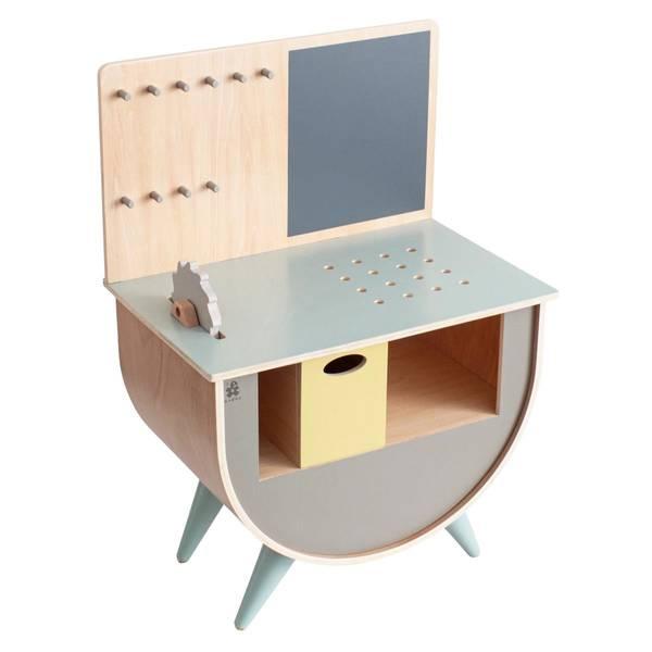 Bilde av Sebra verktøysbenk til barn, tre og varm grå