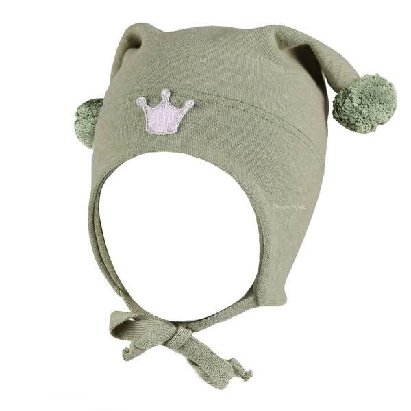 Bilde av Kivat vårlue til barn med krone, lys grønnmelert