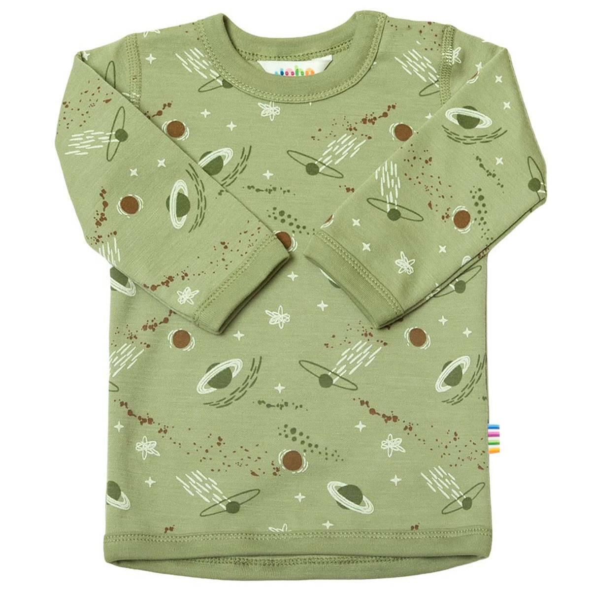 Joha genser i ull/bomull med planeter, grønn