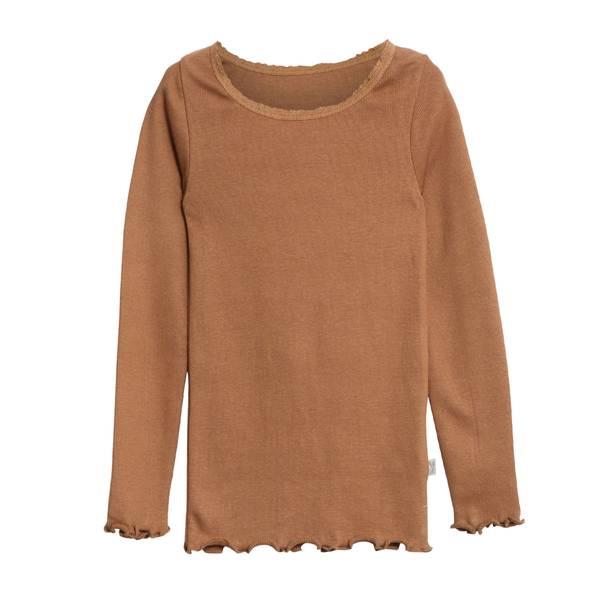 Bilde av Wheat rib lace genser til barn, caramel