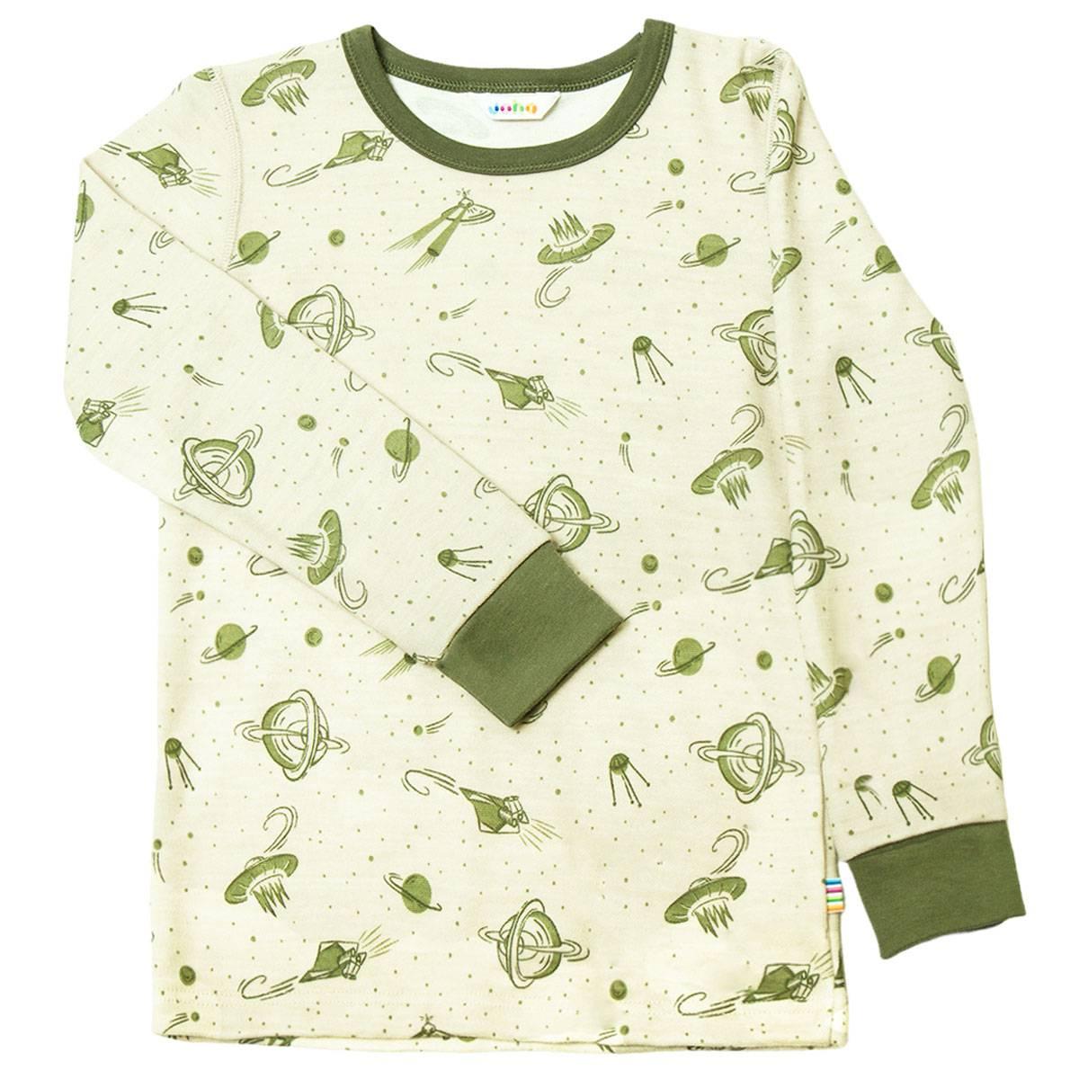 Joha genser i ull/bambus med planeter, grønn
