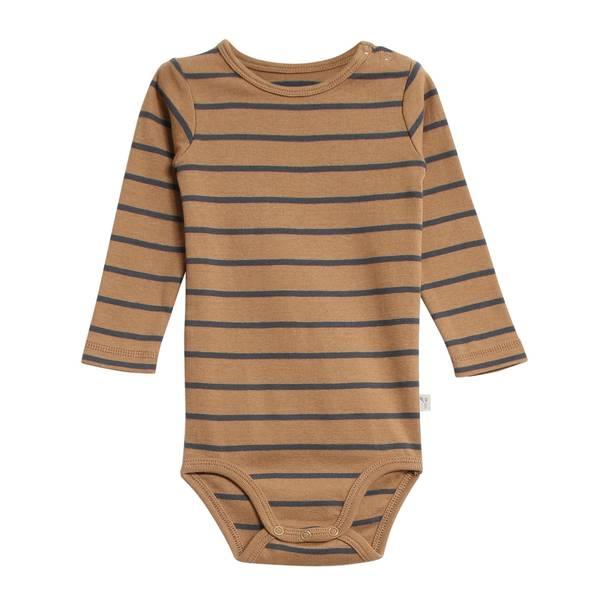 Bilde av Wheat body til baby med striper, caramel