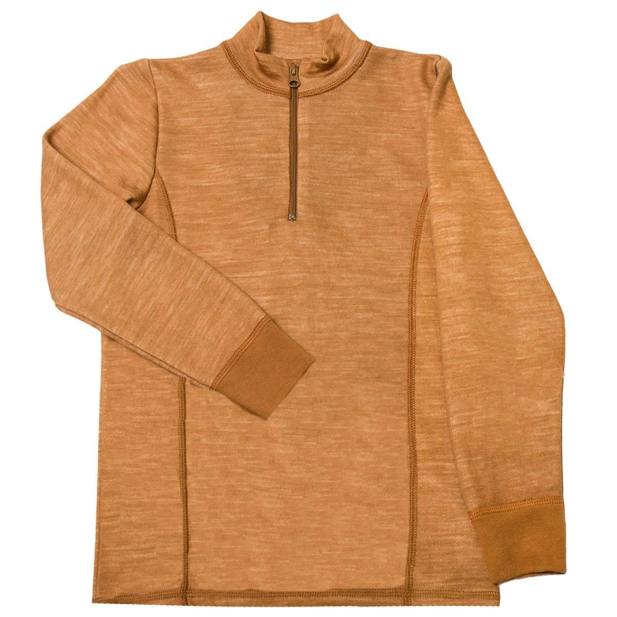 Joha genser i ull/bambus til barn med zip, kobber