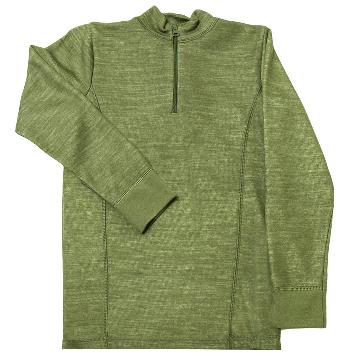 Joha genser i ull/bambus til barn med zip, salvie