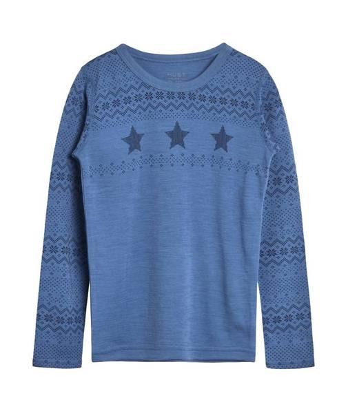 Bilde av Hust & Claire genser merinoull med stjerner, blå