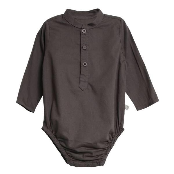 Bilde av Wheat penskjorte-body til baby, grå