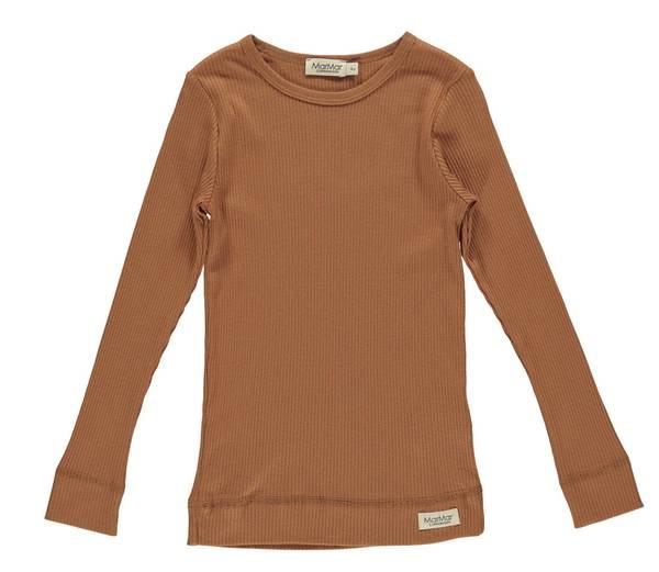 Bilde av MarMar plain ribb genser til barn, Desert Red