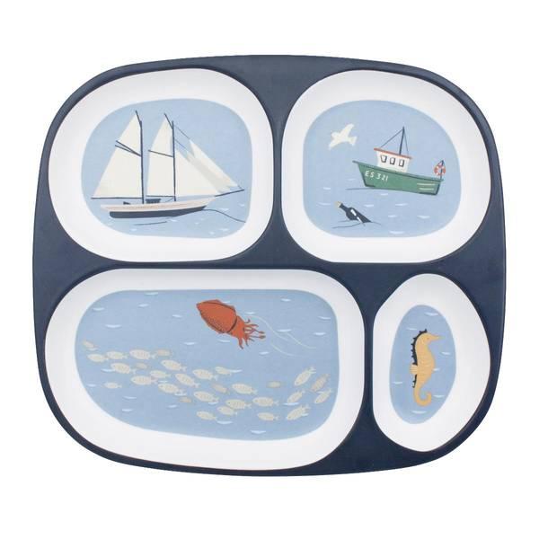 Bilde av Sebra melamin 4-delt tallerken til barn, seven