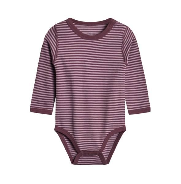 Bilde av Hust & Claire body i ull og bambus med striper,