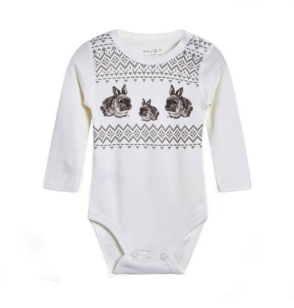 Bilde av Hust & Claire body i ull og bambus med kaniner,