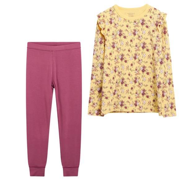 Bilde av Hust & Claire bambus pyjamas med blomster, gul