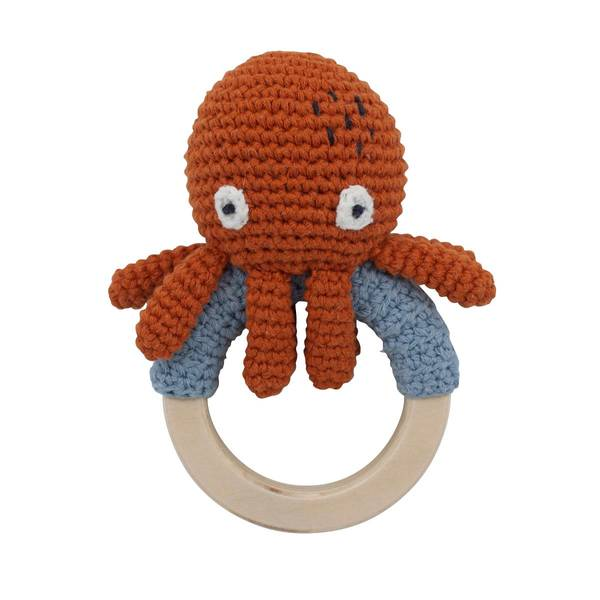 Bilde av Sebra heklet blekksprut rangle til baby