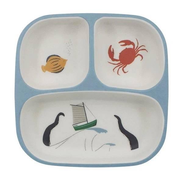 Bilde av Sebra melamin 3-delt tallerken til barn, seven