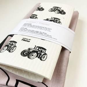 Bilde av Pikelus kjøkkenhåndkle + 2 pk klut, traktor dusty