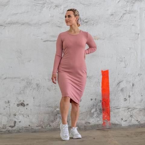 Bilde av Bara Pale Pink Ribbed Longsleeve Dress