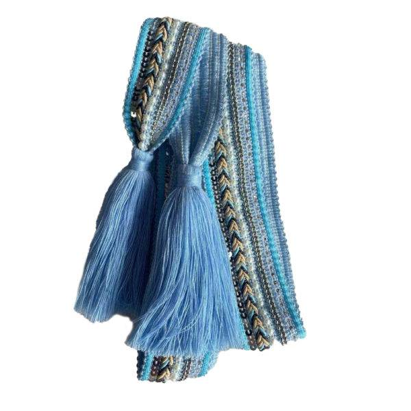 Nora Norway Belt Knit Tassle - Lightblue