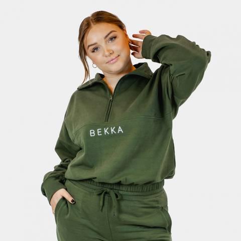 Bilde av Bekka Highschool Zip Sweater - Dark Olive
