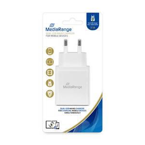 Bilde av MediaRange Dobbel USB-nettlader, 3,1 A utgangseffekt, hvit