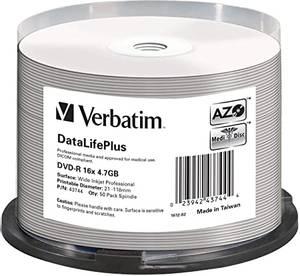 Bilde av Verbatim PRO 16x DVD-R 4,7GB hvit printbar 50 stk