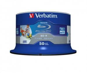 Bilde av Verbatim BD-R 25GB 6X  hvit printbar 50 stk