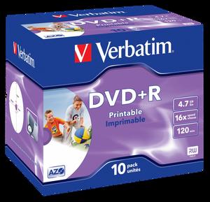 Bilde av Verbatim DVD+R 16X 4.7GB hvit printbar 10 stk i cd case