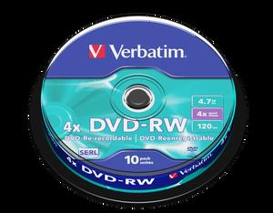 Bilde av Verbatim DVD-RW Media 4X 4.7GB 10 stk