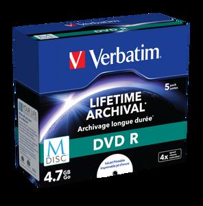 Bilde av Verbatim M-Disc DVD-R 4,7GB 5 stk i cd cover