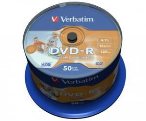 Bilde av Verbatim 16x DVD-R 4,7GB hvit printbar 50 stk