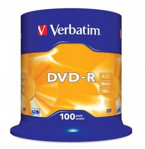 Bilde av Verbatim 16x DVD-R 4,7GB logo 100 stk