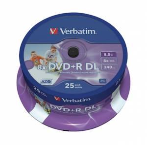 Bilde av Verbatim DVD+R 8x 8.5GB dobbel lags hvit printbar 25 stk