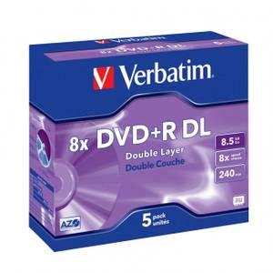 Bilde av Verbatim DVD+R 8x 8.5GB dobbel lags logo 5 stk i cd cover