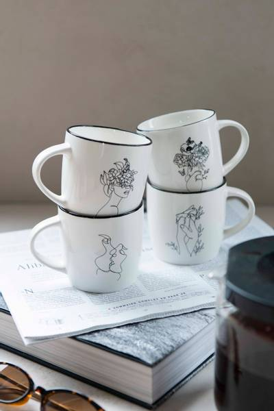 Bilde av Komplett sett - Linjekunst (4stk kopper)