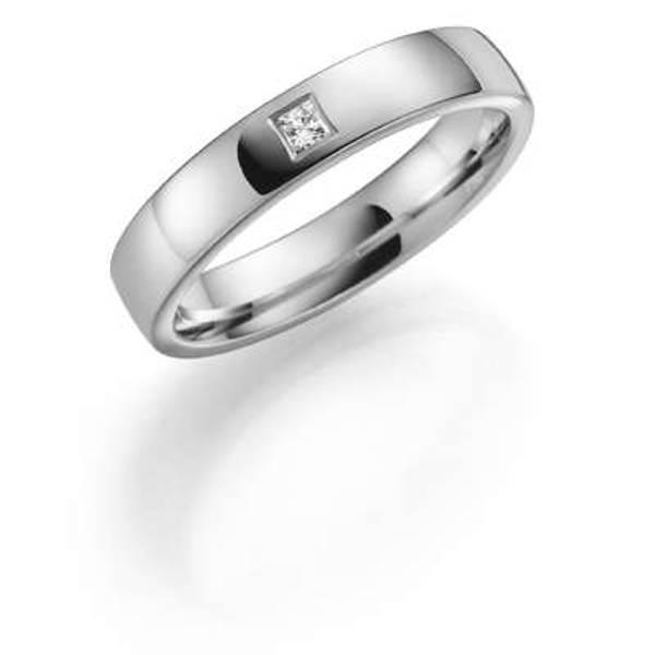 Bilde av Deg&Meg ring 585 hvittgull 4mm 0,05ct SE144HV40 pris per stk