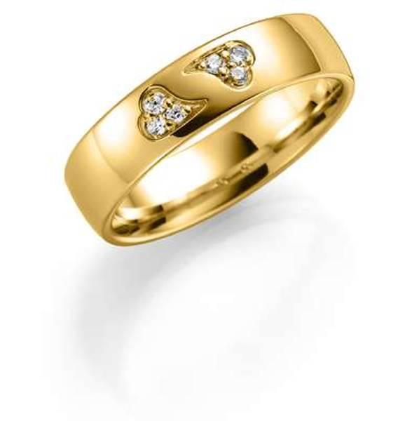 Bilde av Deg&Meg ring 585 gultgull 5mm 0,06ct SE146GU50 pris per stk