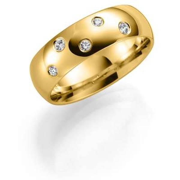 Bilde av Deg&Meg ring 585 gultgull 6mm 0,12ct SE147GU60 pris per stk